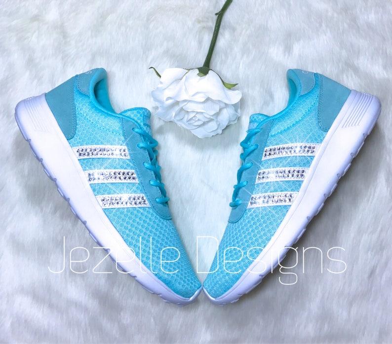 75efe3a3a5b93 Swarovski Adidas Neo Lite Racer CloudFoam Comfort, Custom Hand Jeweled by  Jezelle Designs w/ Genuine Swarovski Crystals, Bling Adidas