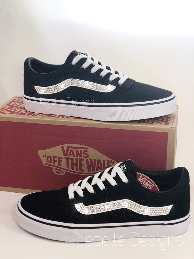c4e60fc1106c9 READY TO SHIP! Women's Bling Vans Old Skool Skate Shoe Customized With  Swarovski Crystals