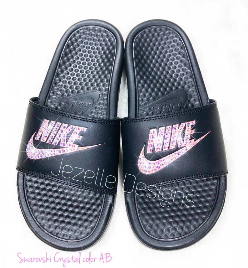 0f30c43759a5 Bling Nike Slides Women s Swarovski Nikes Hand Jeweled