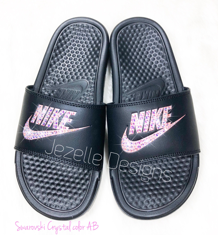 Bling Nike Slides Women s Swarovski Nikes Hand Jeweled  5863912a2