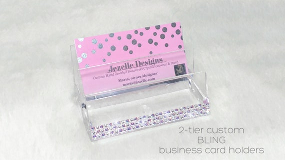 Swarovski business card holder custom hand jeweled acrylic colourmoves