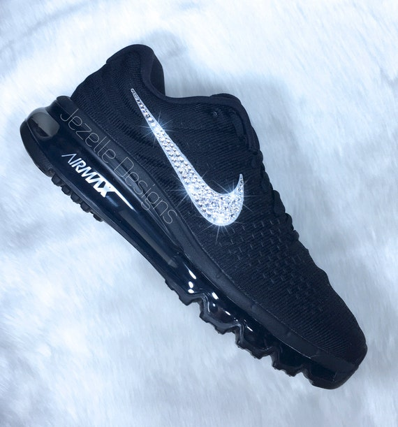 Swarovski Nike Women s Air Max 2017 Black Customized With  001484430bbb