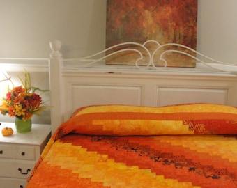 """Queen Size, King Size Handmade Batik Quilt  Sahara Sunshine, 96 """"x 113"""""""
