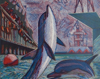 """Vintage Limited Edition ORIGINAL LINOCUT """"Dolphins"""" by Feigin L. 1970s Hand Painted Lino Print Art Linocut"""