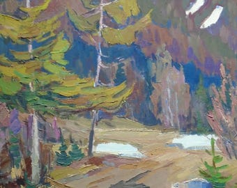 VINTAGE MOUNTAINS FOREST Landscape by Soviet Ukrainian artist Kharchenko V. 1965, Signed, Ukrainian Fine Art, High Quality, Nature painting