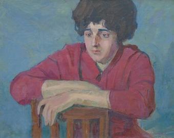 Sale! ANTIQUE FEMALE PORTRAIT Vintage Original Oil Painting by A. Maksimenko 1970s, Signed, Fine Soviet Art, Women Portrait, One of a Kind