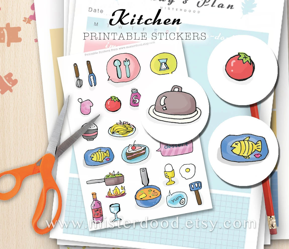 kitchen printable sticker cute kawaii doodle food utensils | etsy