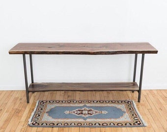 Live Edge Entryway Table | Black Walnut Sofa Table | Mid Century Modern  Console | Scandinavian Style | Contemporary Rustic Wood Slab