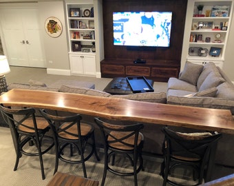 Live Edge Home Bar Table | Black Walnut Slab | Contemporary Rustic Wood  Sofa Table | Industrial Console Table Pub Table | Man Zone