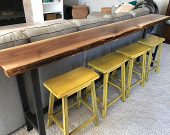 Sofa Table Home Bar Top Table Live Edge Bar Table Black Walnut Natural Edge Slab Rustic Industrial Farmhouse Modern Steel Legs