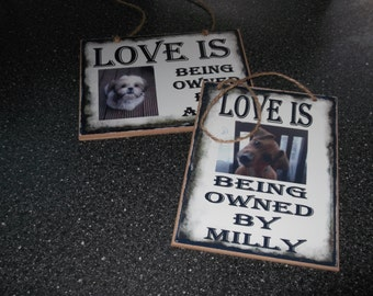 Personalised Wooden/Metal LOVE IS plaque Free Postage