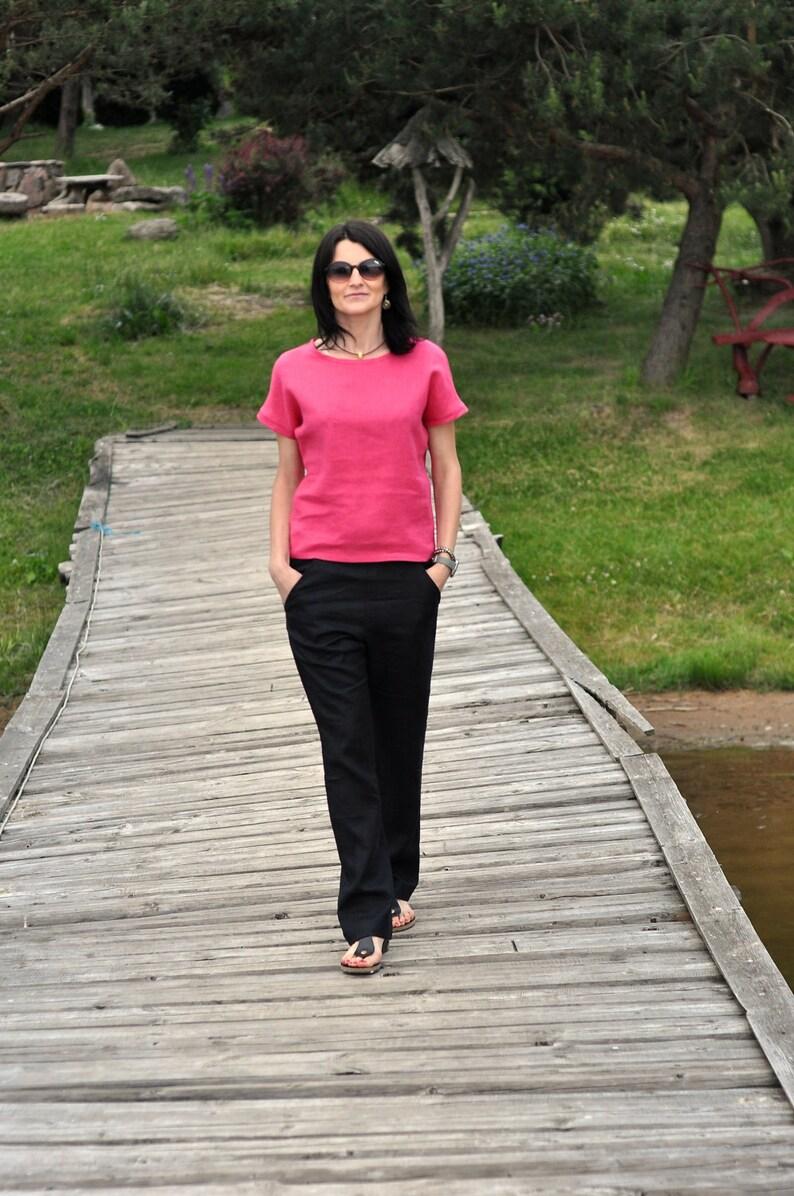 Linen shirt  Linen blouse Blouse with cute little kimono sleeves  women/'s top women/'s blouse linen shirt  eco linen blouse pure linen