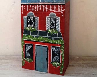 Handmade and hand-painted wooden house