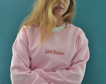 Embroidered girl power pink slogan Sweater