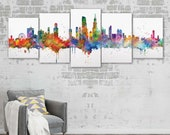 Chicago Stretched Canvas Wall Hanging Office Wall Decal Home Decor Chicago Skyline City Map Print Sets Canvas Sets Art Chicago Building