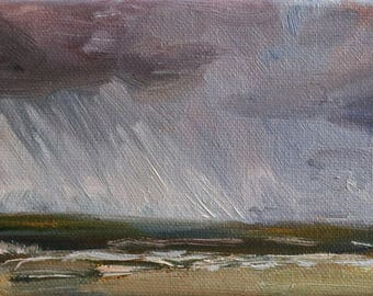 "small oil painting, ""Bad weather is coming"", 4x12 inch, 10x30 cm, oil on canvas, Scheveningen"