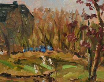 "plein air oil painting, ""building a hut"", oil on canvas, 8x8 inch, 20x20 cm"