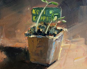 """small oil painting, """"moestuintje"""", 6x6 inch, 15x15 cm, oil on panel"""
