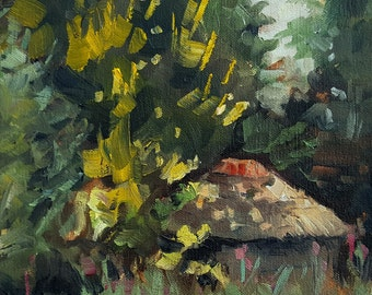"""small landscape oil painting, """"view from the garden"""", oil on canvas, 8x8 inch, plein air"""