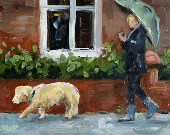"small oil painting, ""dogwalking in the rain"", oil on panel, 6x6 inch"