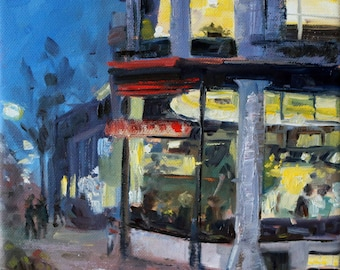 "cityscape oilpainting of the Hague, ""dining in the Hague"", 8x8 inch, 20x20 cm, oil on stretched canvas"