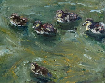 """small oil painting, """"Ducklings"""", oil on panel, 6x6 inch, 15x15 cm"""