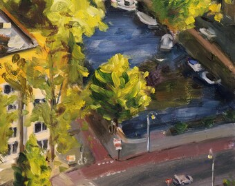 "small oil painting, ""view from above"", Amsterdam cityscape, 6x6 inch, oil on gessobord"