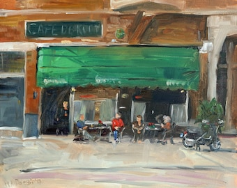 "Oil painting cityscape, ""At the cafe"", 24x30 cm, oil on panel"