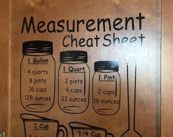 Measurement decal/Kitchen decal/Cheat sheet