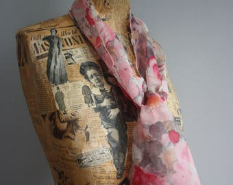Vintage 1960's Scarf, Pink Chiffon, Floral Print, Headscarf, 1960's Shawl, 1960's Chiffon Scarf