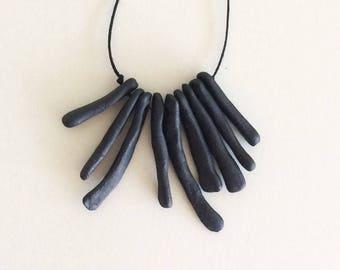 BONES: hand built porcelain ceramic necklace, matte black