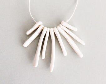 BONES: hand built porcelain ceramic necklace, matte white