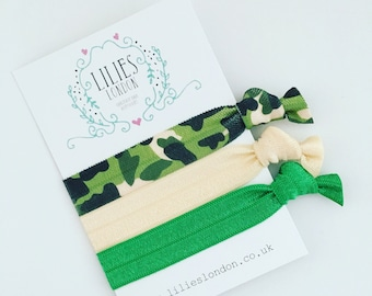 Camouflage hair ties, green hairbands, army fashion, camo ponytail holder, unique gifts, cream hairband, green bracelets, elastic hair ties