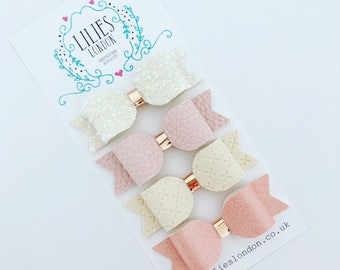 Pink and cream hair bows