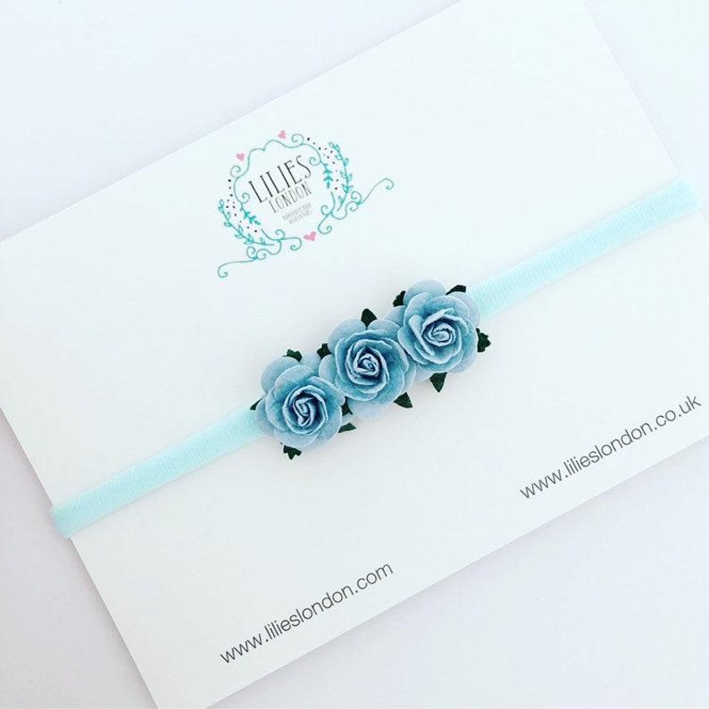 Light blue flower headband