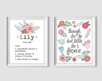 Personalized Digital Name Meaning Blue Floral Watercolor Etsy