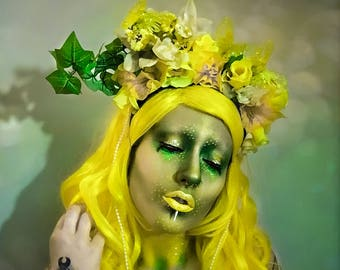 Yellow floral butterfly headdress