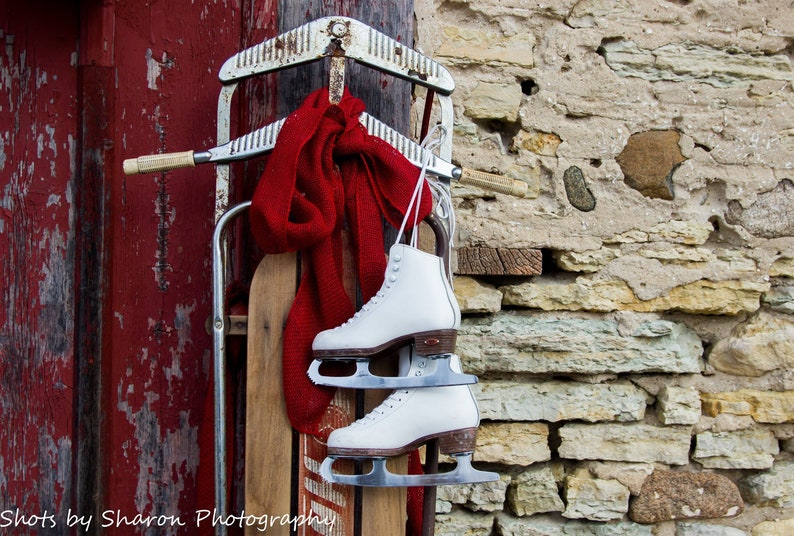 Vintage Wooden Sled Ice Skates Barn Red Barn Sled And Barn Winter Sports White Figure Skates Gift For Ice Skater Happi Time Sled