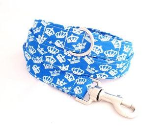 Handmade royal blue crowns dog lead