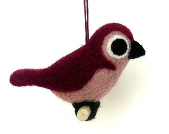 Needle felted bird. Burgundy and pink . By LaPoissonnerie