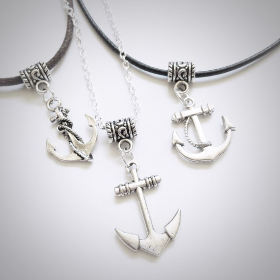 Anchor Charm Pendant Necklace with Black Cord