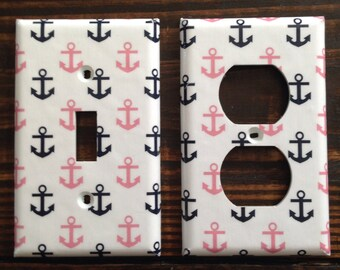 Navy Blue And Pink Anchor Light Switch And Outlet Covers | Anchors - Nursery Decor - Set of 4 - Nautical Home Decor - Nautical Wall Art