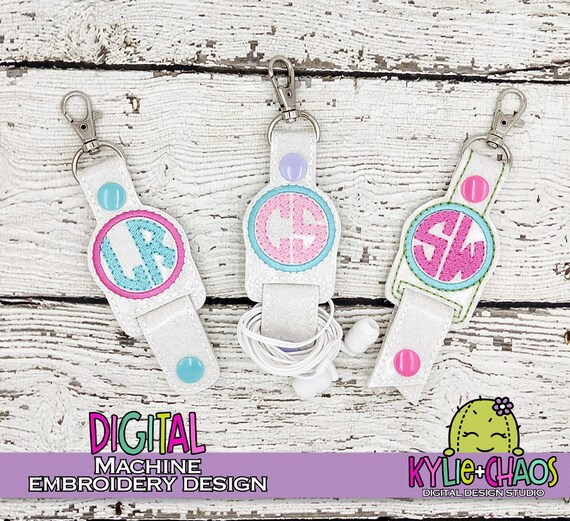 Monogram Blank Cord Keeper Key-Chain Snap Tab Planner Charm In The Hoop ITH  Machine Embroidery Design Pattern