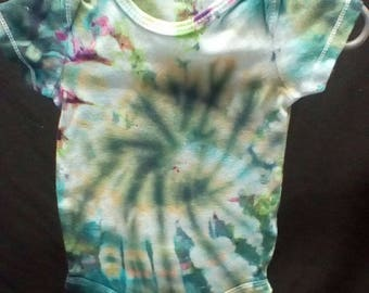 Hand Dyed Tie dye 6 month onesie snow psychedelic Carter's brand