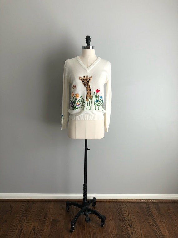 Vintage 70s Embroidered Giraffe Sweater