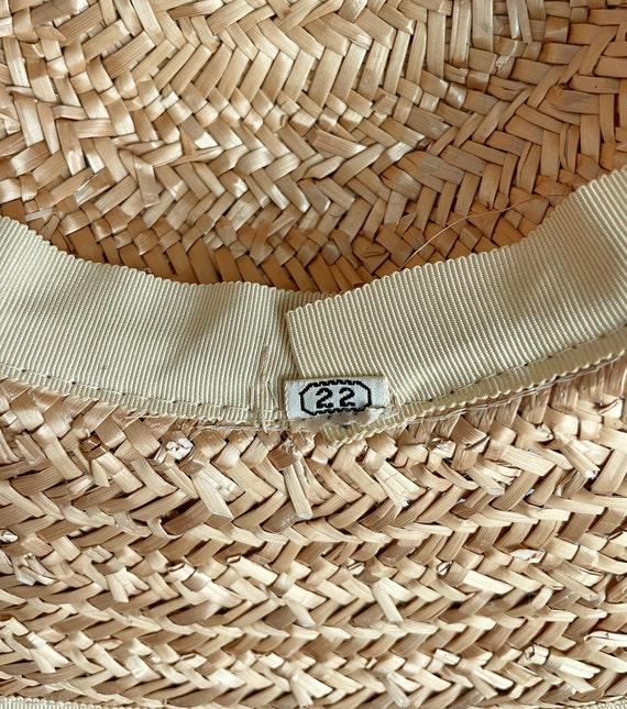 Vintage 40s Wide Brim Straw Sun Hat - image 7