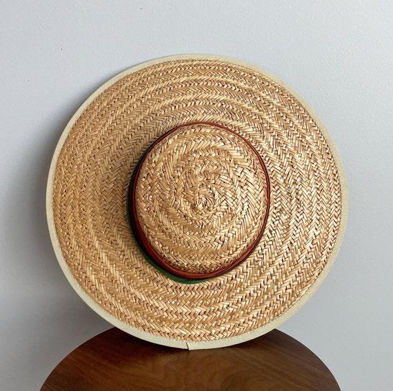 Vintage 40s Wide Brim Straw Sun Hat - image 4