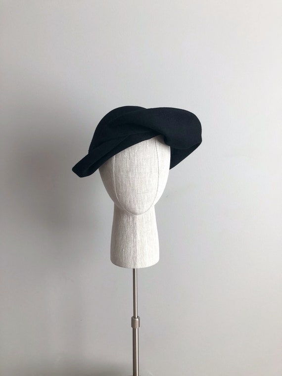 Vintage 40s Asymmetrical Black Wool Hat