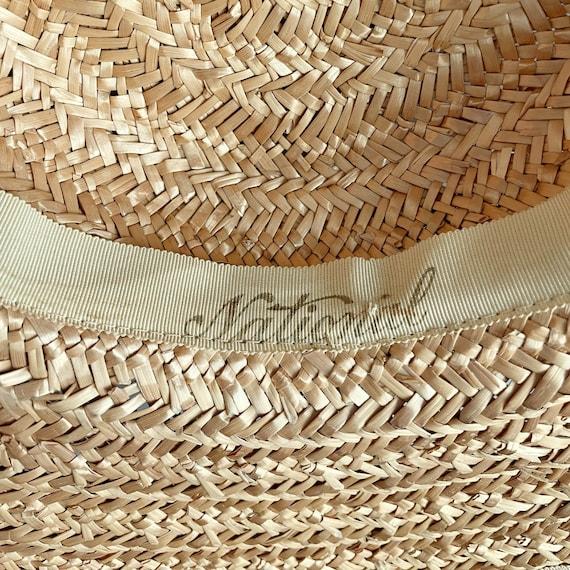 Vintage 40s Wide Brim Straw Sun Hat - image 6