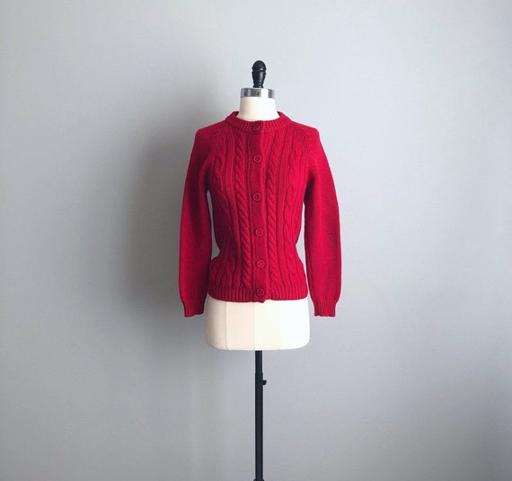 Vintage 60s Red Wool Cable Knit Cardigan